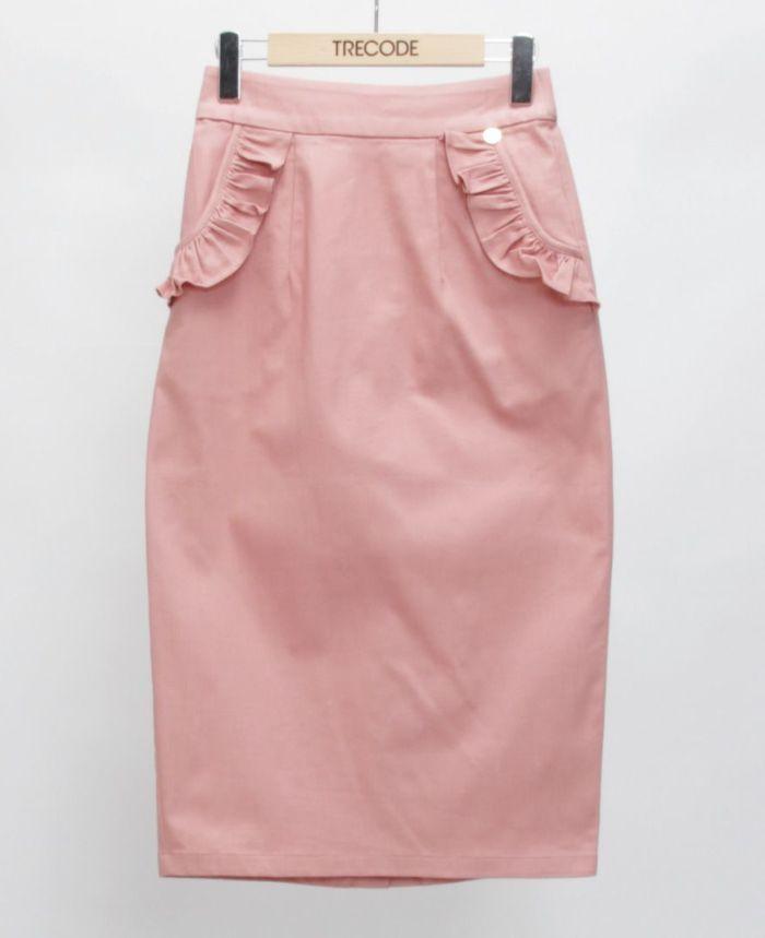 神戸・山の手ポケットフリルスカート ピンク