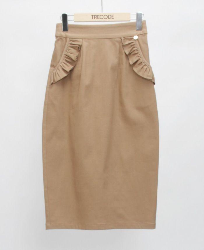 神戸・山の手ポケットフリルスカート ベージュ