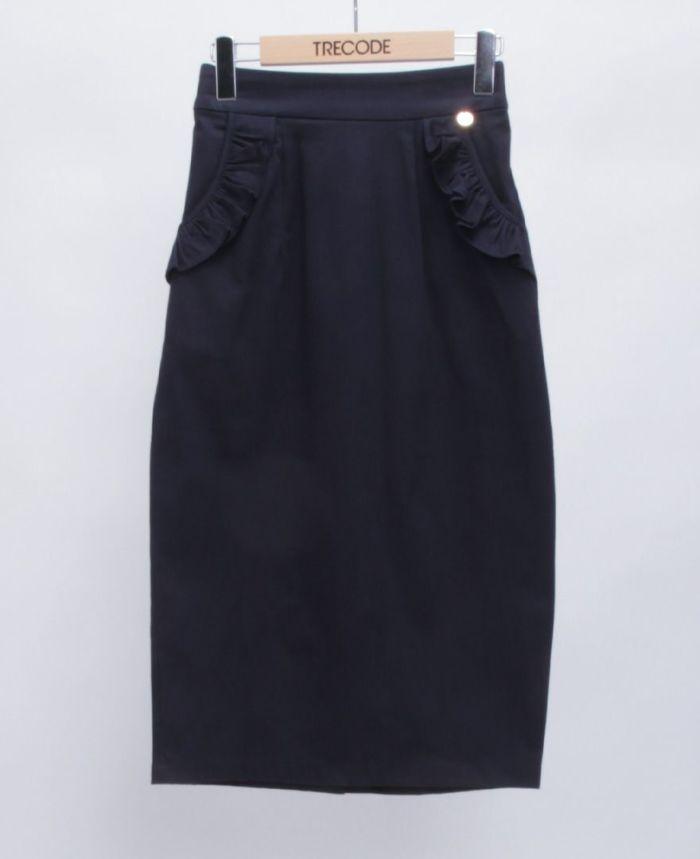 神戸・山の手ポケットフリルスカート ネイビー