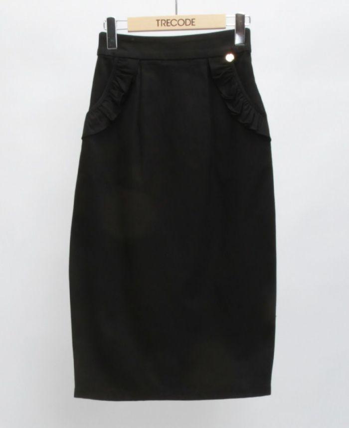 神戸・山の手ポケットフリルスカート ブラック