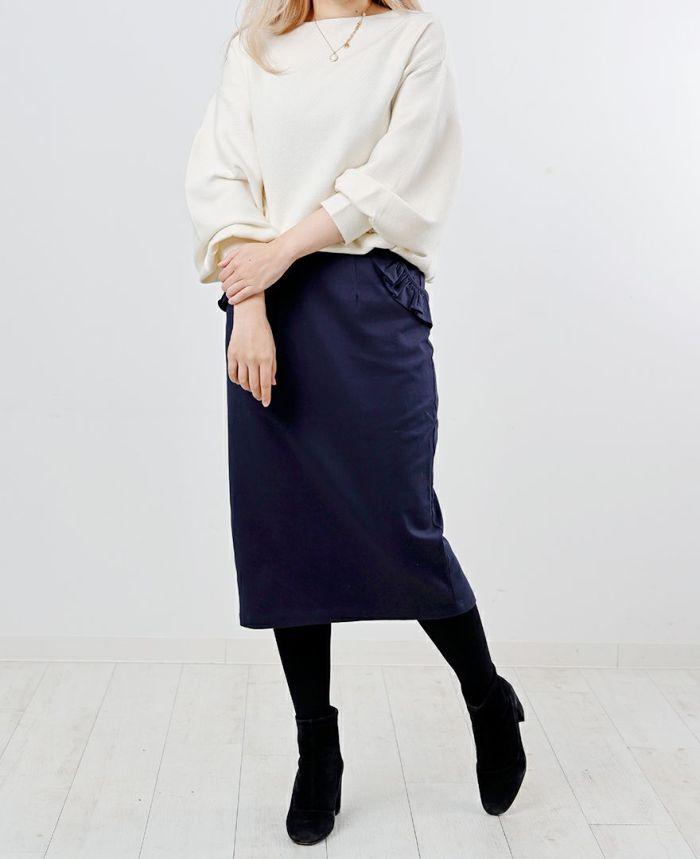 ベージュの神戸・山の手ポケットフリルスカート 着用画像