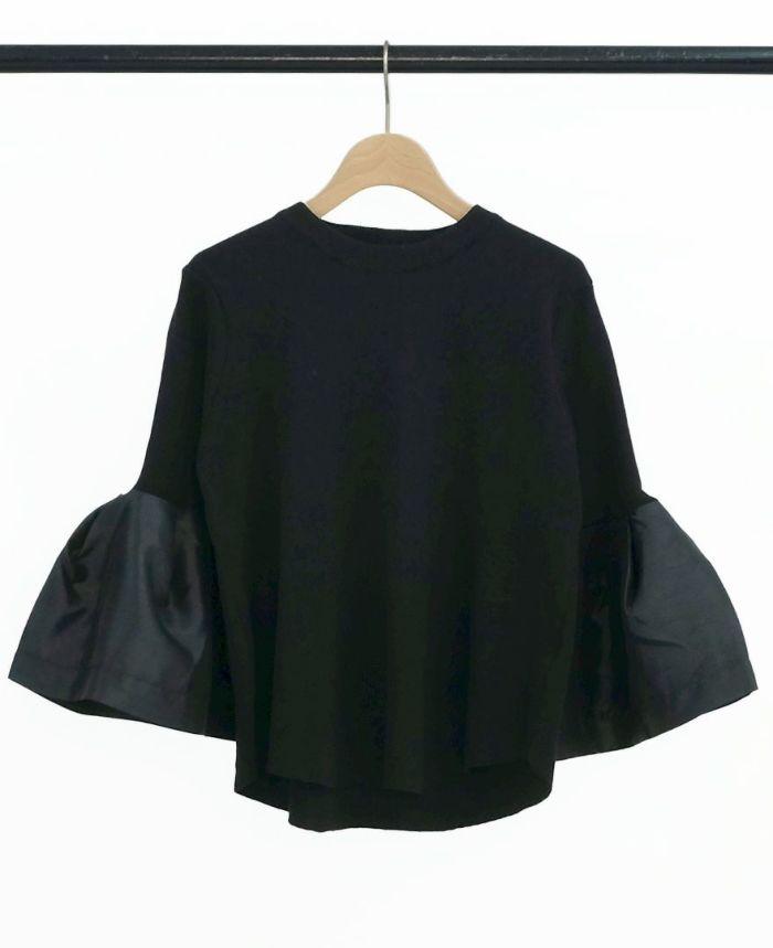 ラッパ袖プルオーバー ブラック
