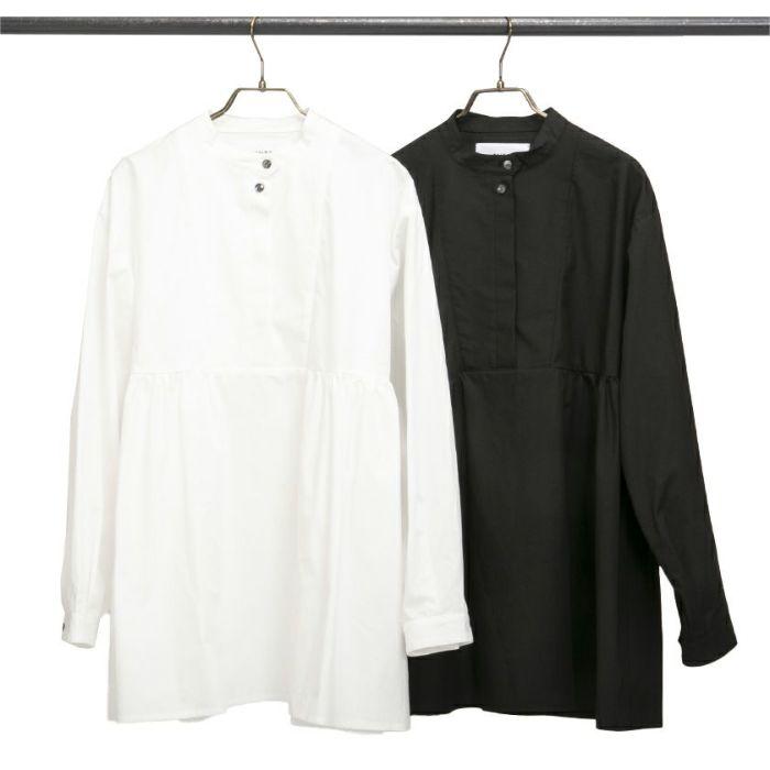 ホワイトブラックスタンドカラーペプラムシャツ2色展開