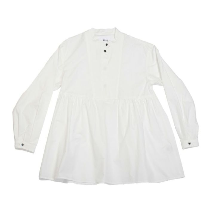 フロントスタイルスタンドカラーペプラムシャツ