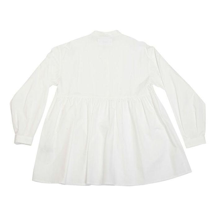 バックスタイルスタンドカラーペプラムシャツ