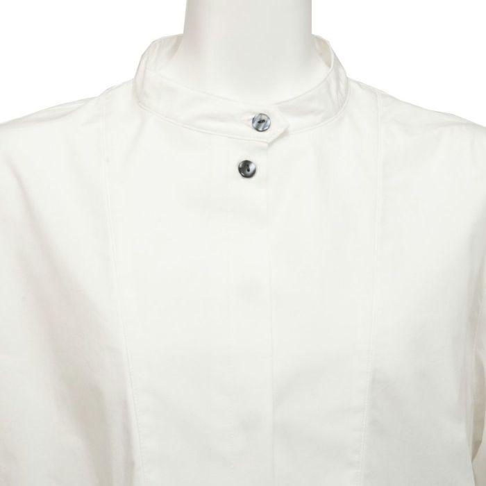 襟 フロントスタンドカラーペプラムシャツ