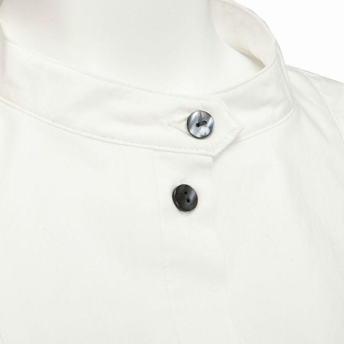シルバーボタンスタンドカラーペプラムシャツ