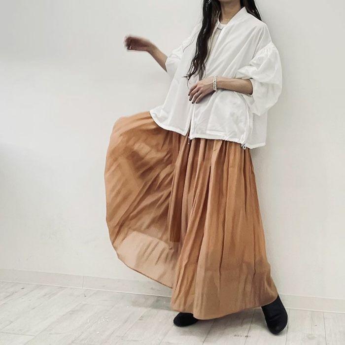 テラコッタオーガンジープリーツスカート