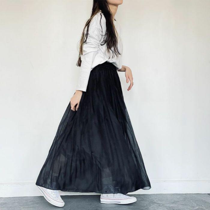 ブラックオーガンジープリーツスカート