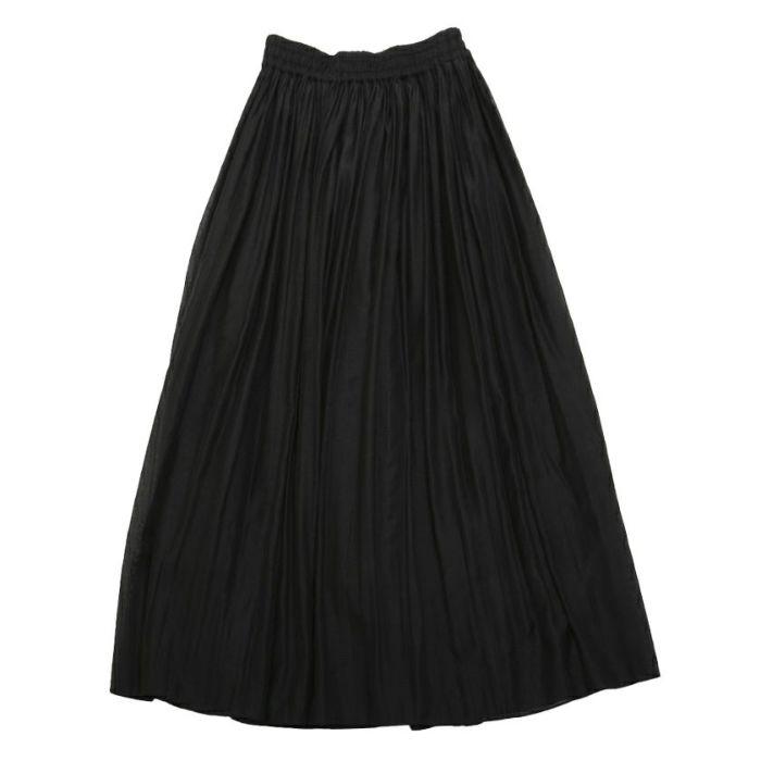 ブラックオーガンジープリーツスカートフロントスタイル