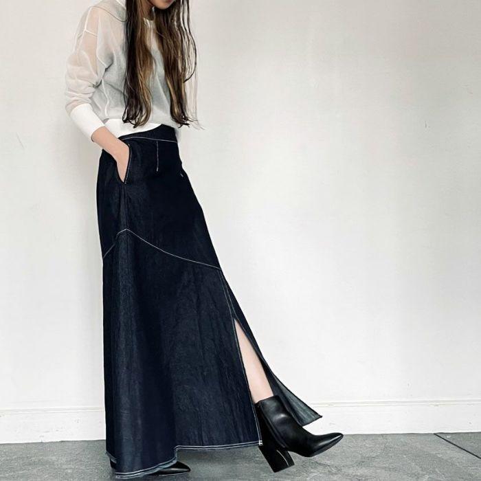 ネイビーデニムAラインスカート