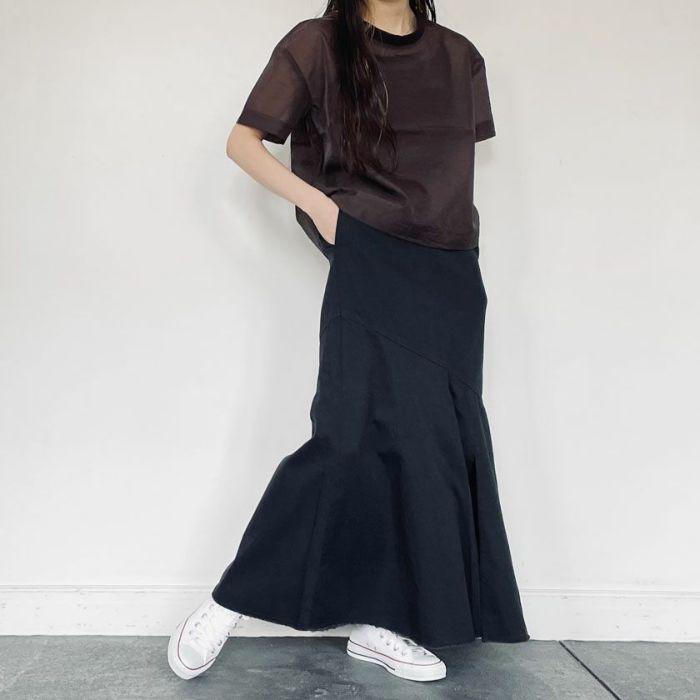 ブラックデニムAラインスカート