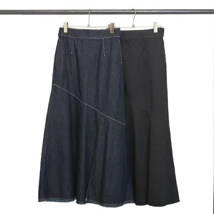 ネイビー ブラックデニムAラインスカート スリット入り フレアシルエット