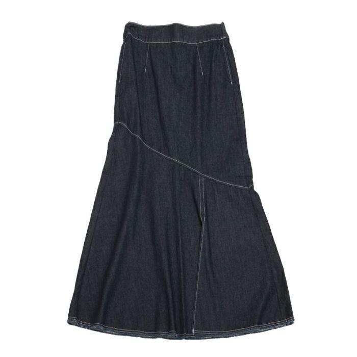 ネイビーフロントデニムAラインスカート
