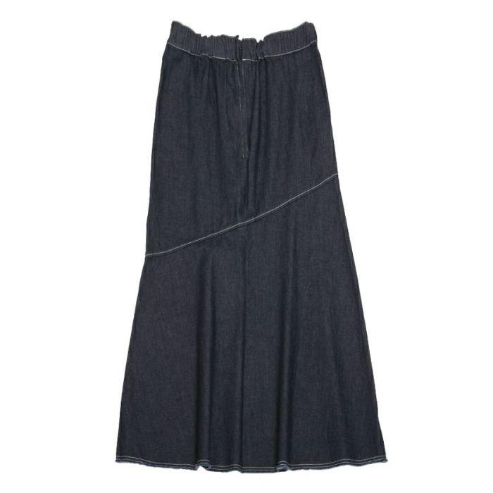 ネイビーバックスタイルデニムAラインスカート