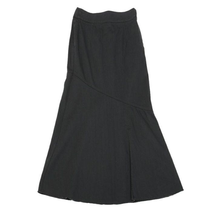 ブラックフロントスタイルデニムAラインスカート