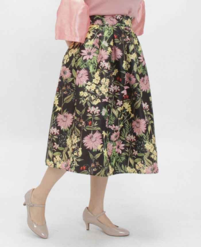 花柄フレアスカート 着用画像