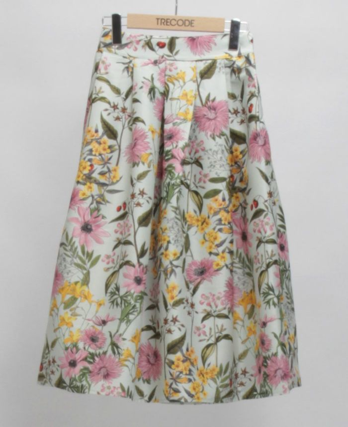 花柄フレアスカート ミント