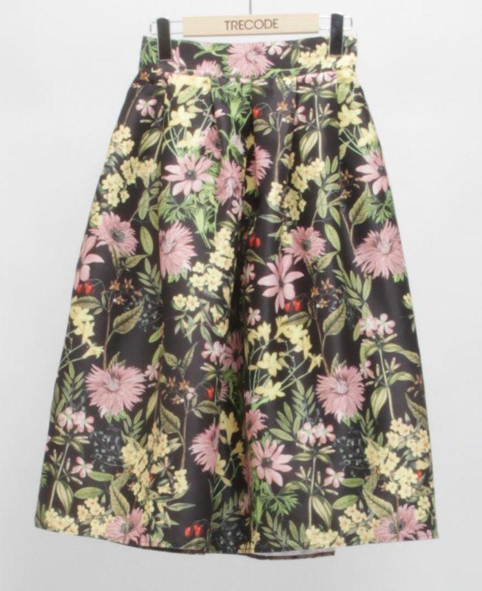 花柄フレアスカート ブラック