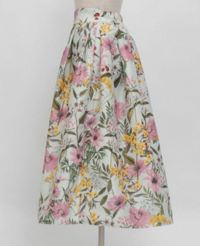 花柄フレアスカート サイド詳細
