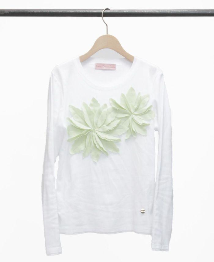 お花アップリケ長袖Tシャツ ホワイト×グリーン