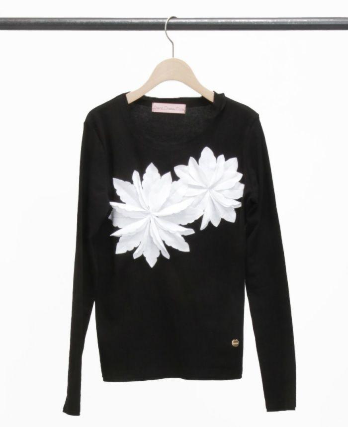 お花アップリケ長袖Tシャツ ブラック×ホワイト
