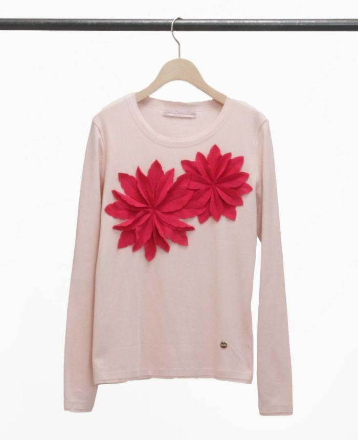 お花アップリケ長袖Tシャツ ピンク×マゼンダ