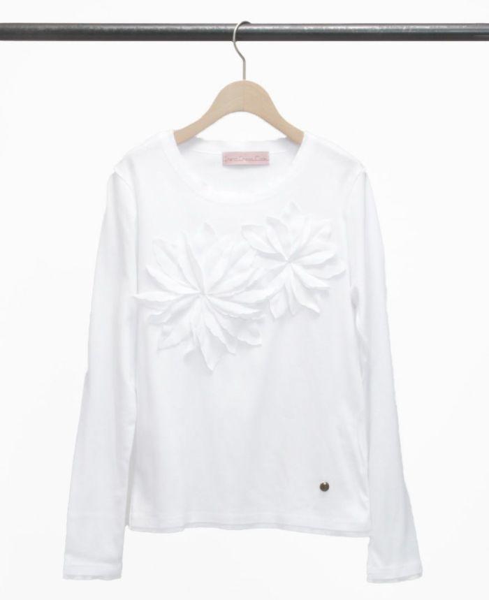 お花アップリケ長袖Tシャツ ホワイト×ホワイト
