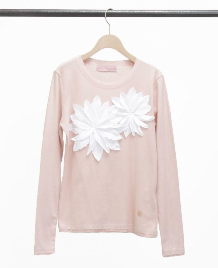 お花アップリケ長袖Tシャツ ピンク×ホワイト
