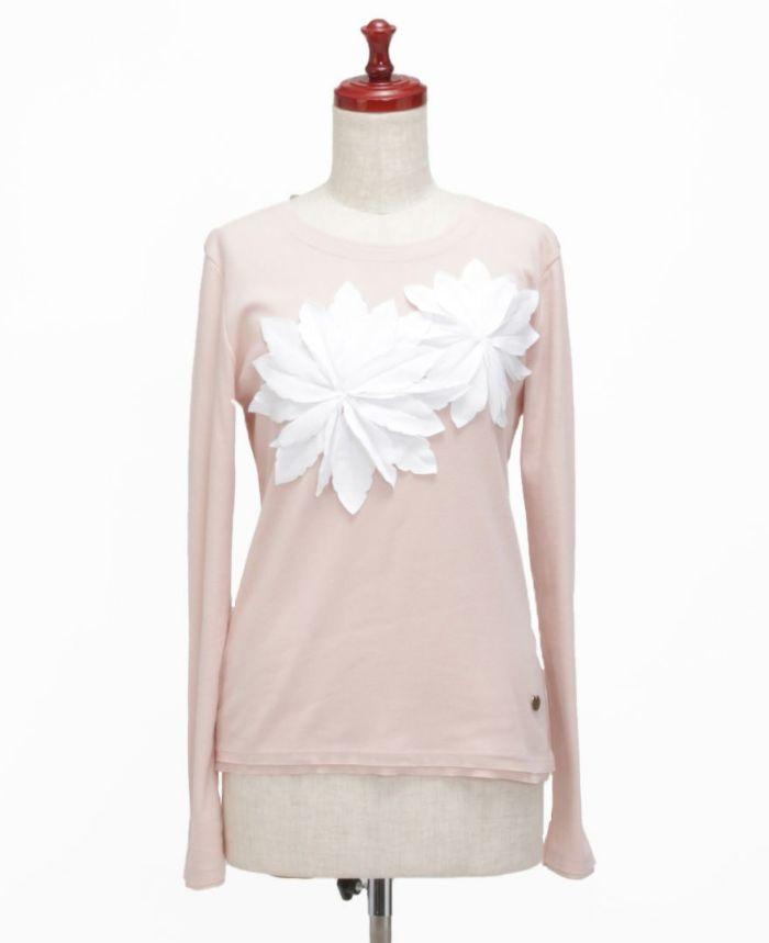 お花アップリケ長袖Tシャツ ピンク×ホワイト フロント
