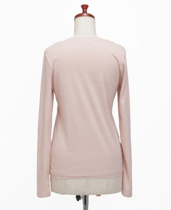 お花アップリケ長袖Tシャツ ピンク×ホワイト バック