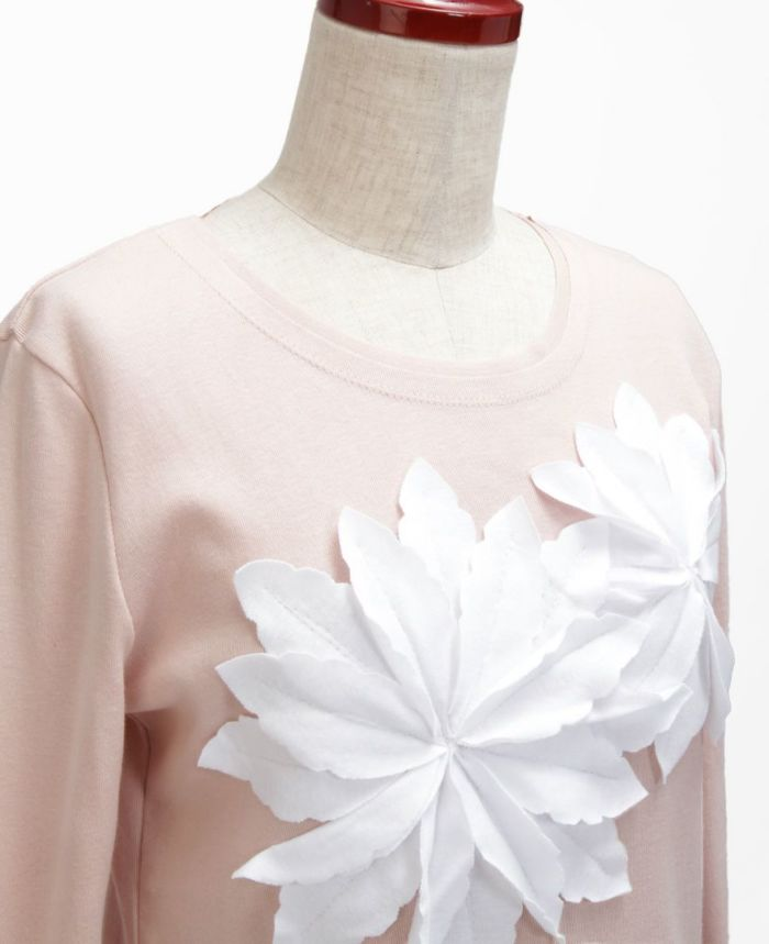 お花アップリケ長袖Tシャツ ピンク×ホワイト お花詳細