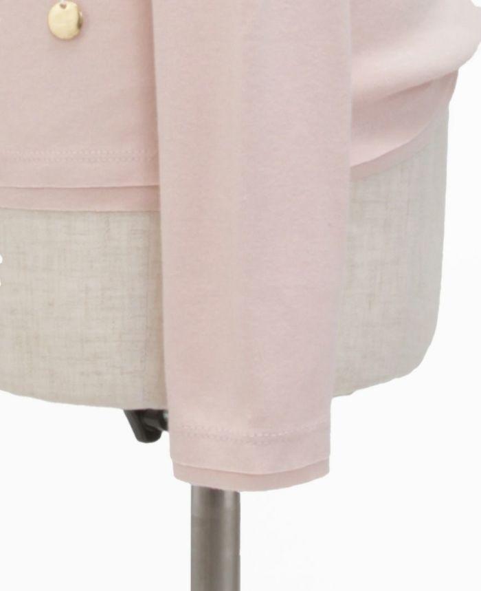 お花アップリケ長袖Tシャツ ピンク×ホワイト 裾袖詳細