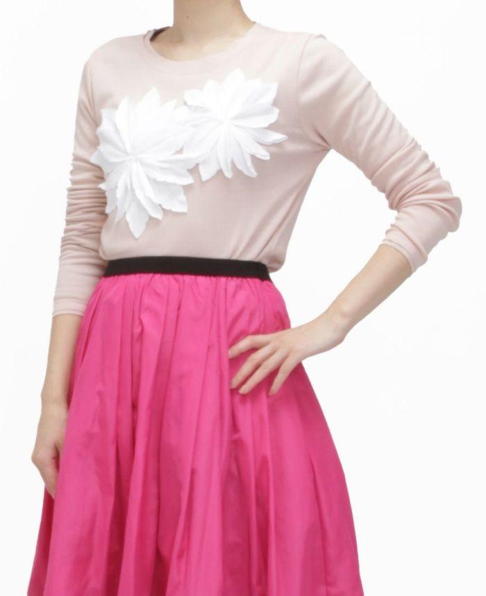 お花アップリケ長袖Tシャツ ピンク×ホワイト バストアップ