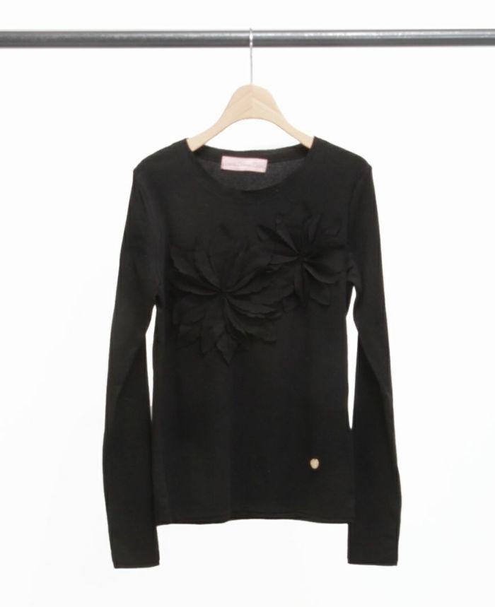 お花アップリケ長袖Tシャツ ブラック×ブラック