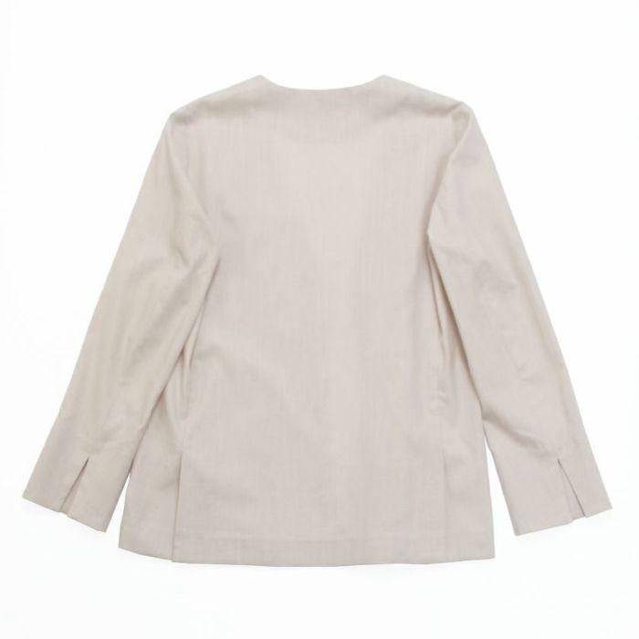 綿麻ノーカラージャケット ベージュバックスタイル