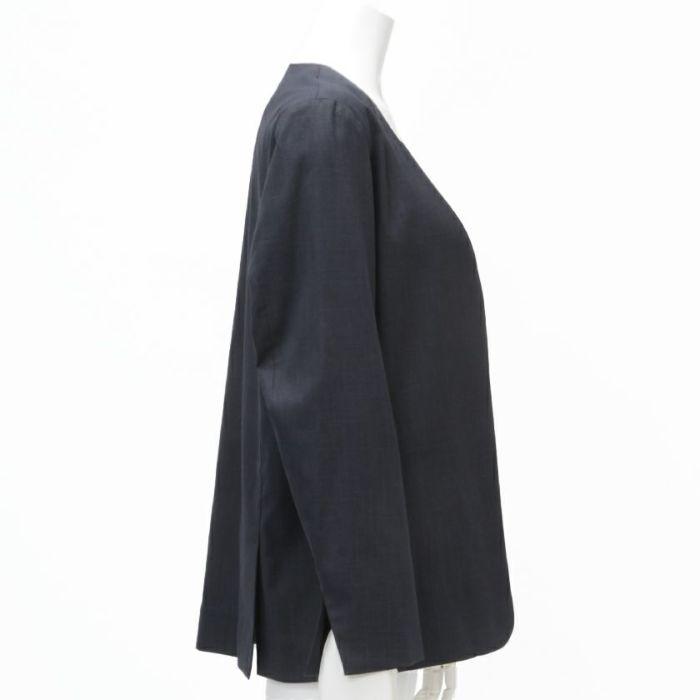 綿麻ノーカラージャケット サイド