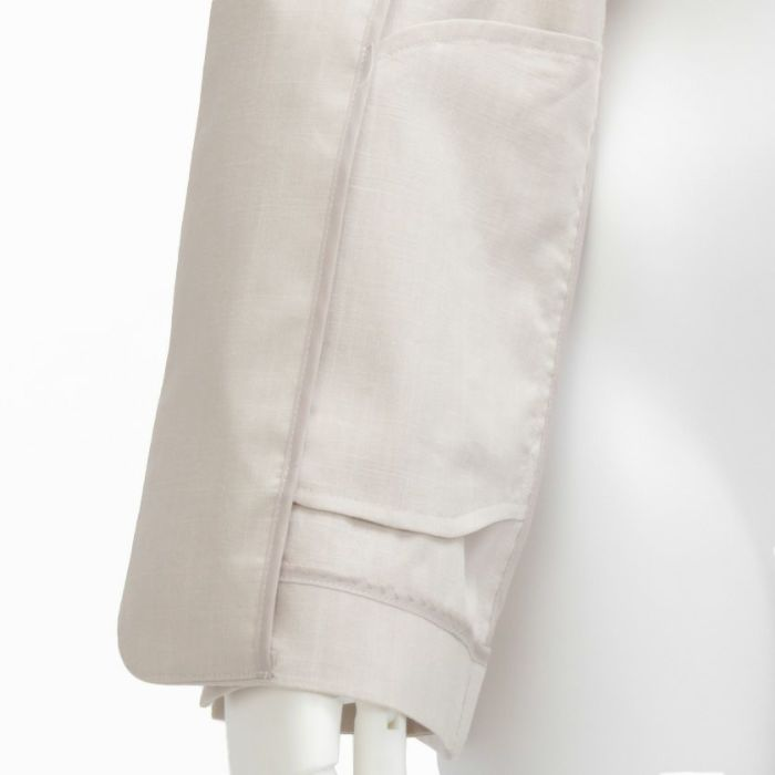 綿麻ノーカラージャケット 袖