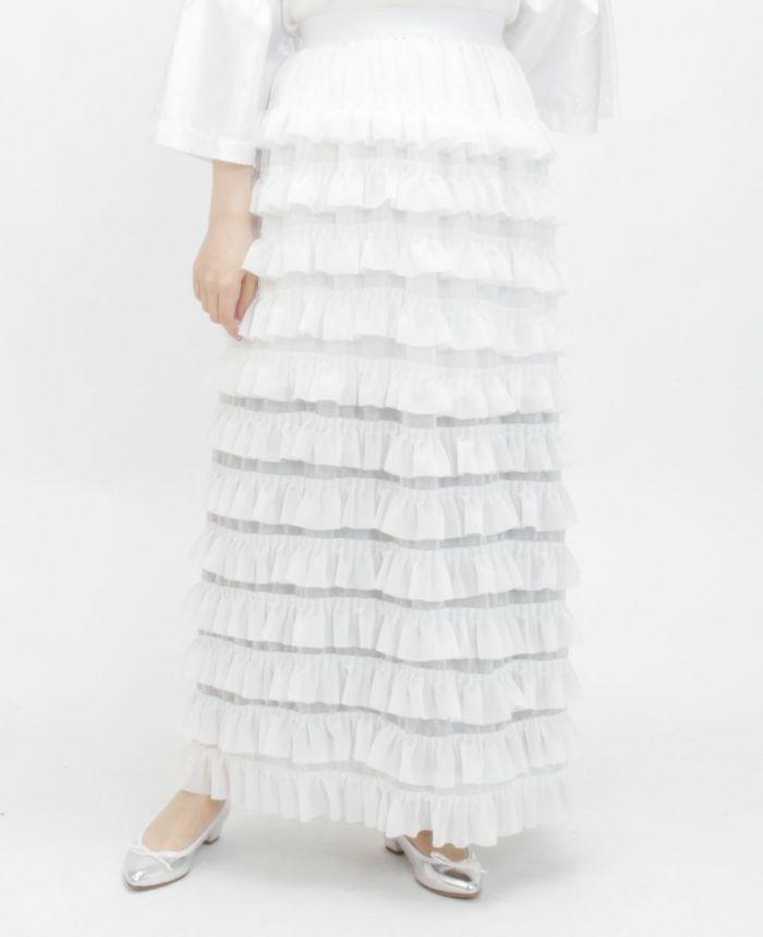 ティアードフリルロングスカートホワイト着用画像