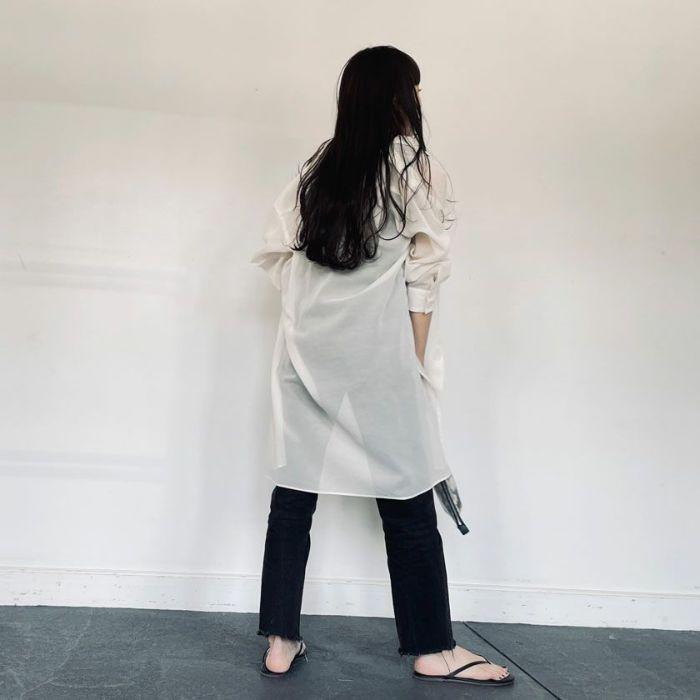 シアーシャツホワイト 透け感が可愛い