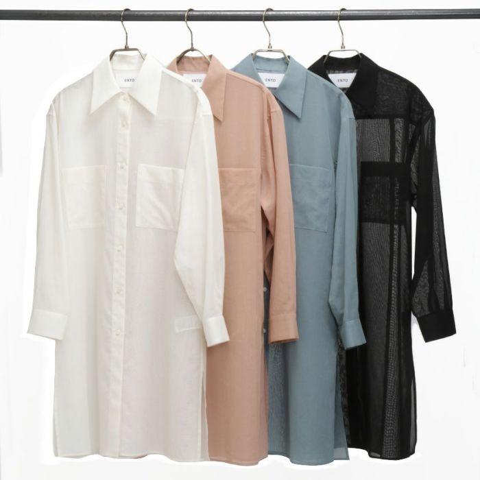 シアーシャツ オフホワイト・ピンク・ブルー・ブラック