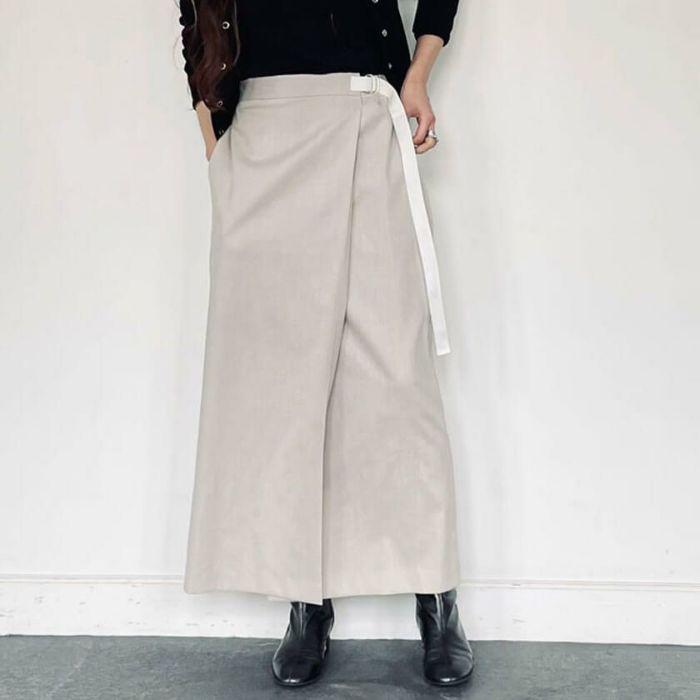 綿麻ラップスカート ベージュ 春夏におすすめの綿麻素材スカート