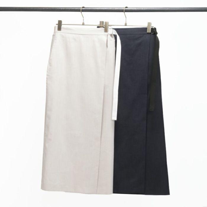 綿麻ラップスカート ベージュカラー ネイビーカラー