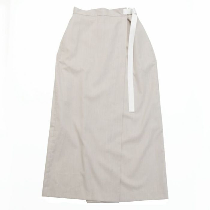 綿麻ラップスカート ベージュ フロント