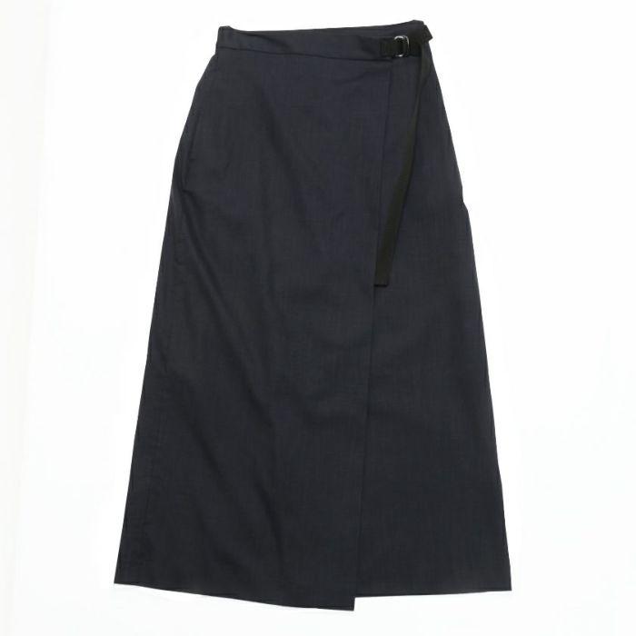 綿麻ラップスカート ネイビーカラー フロントスタイル