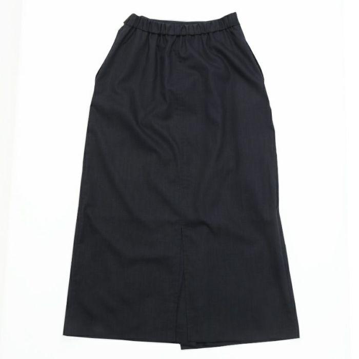 綿麻ラップスカート ネイビー バックスタイル