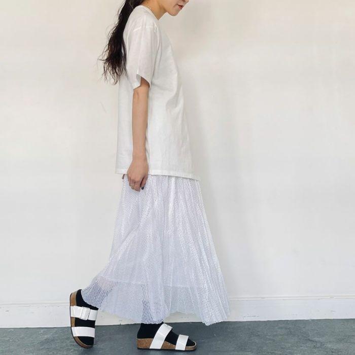 メッシュプリーツスカートホワイトカラー