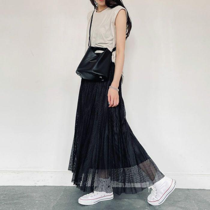 メッシュプリーツスカートブラックカラー