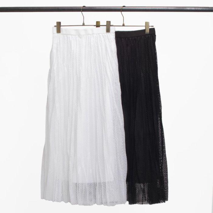 メッシュプリーツスカートホワイトブラック