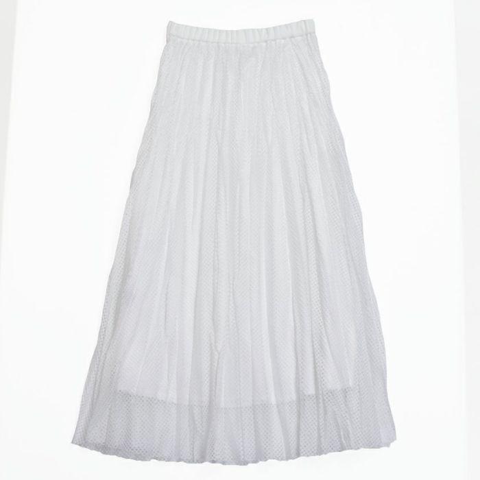 メッシュプリーツスカートホワイトカラーバックスタイル